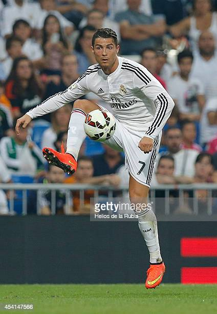 Cristiano Ronaldo of Real Madrid controls the ball during the La Liga match between Real Madrid CF and Cordoba CF at Estadio Santiago Bernabeu on...