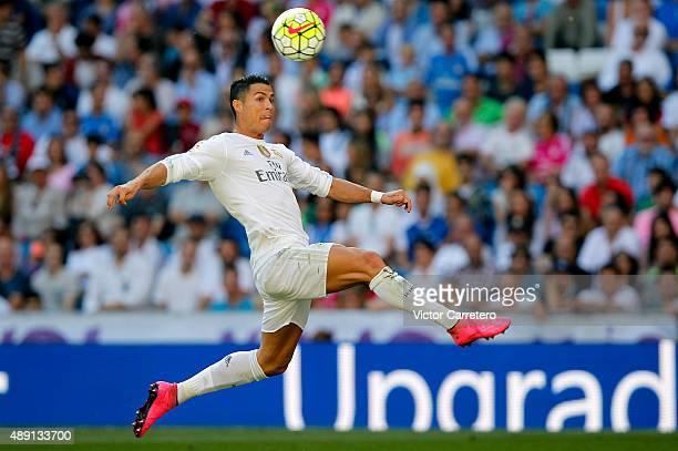 Cristiano Ronaldo of Real Madrid controls the ball during the La Liga match between Real Madrid CF and Granada CF at Estadio Santiago Bernabeu on...