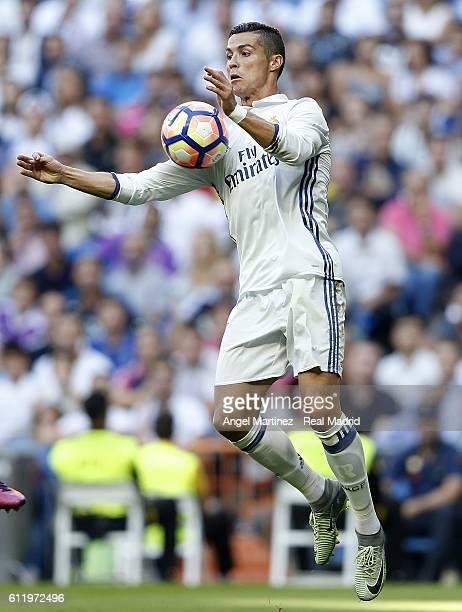 Cristiano Ronaldo of Real Madrid controls the ball during the La Liga match between Real Madrid CF and SD Eibar at Estadio Santiago Bernabeu on...