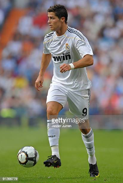 Cristiano Ronaldo of Real Madrid controls the ball during the La Liga match between Real Madrid and Tenerife at the Estadio Santiago Bernabeu on...