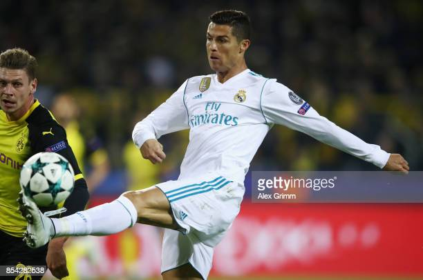 Cristiano Ronaldo of Real Madrid controls the ball during the UEFA Champions League group H match between Borussia Dortmund and Real Madrid at Signal...