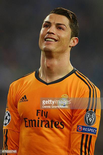 Cristiano Ronaldo of Real Madrid despairs after missing a chance at goal during the UEFA Champions League Round of 16 first leg match between Schalke...