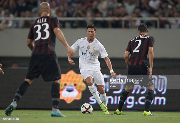Cristiano Ronaldo of Real Madrid drives the ball during the International Champions Cup football match between AC Milan and Real Madrid at Shanghai...