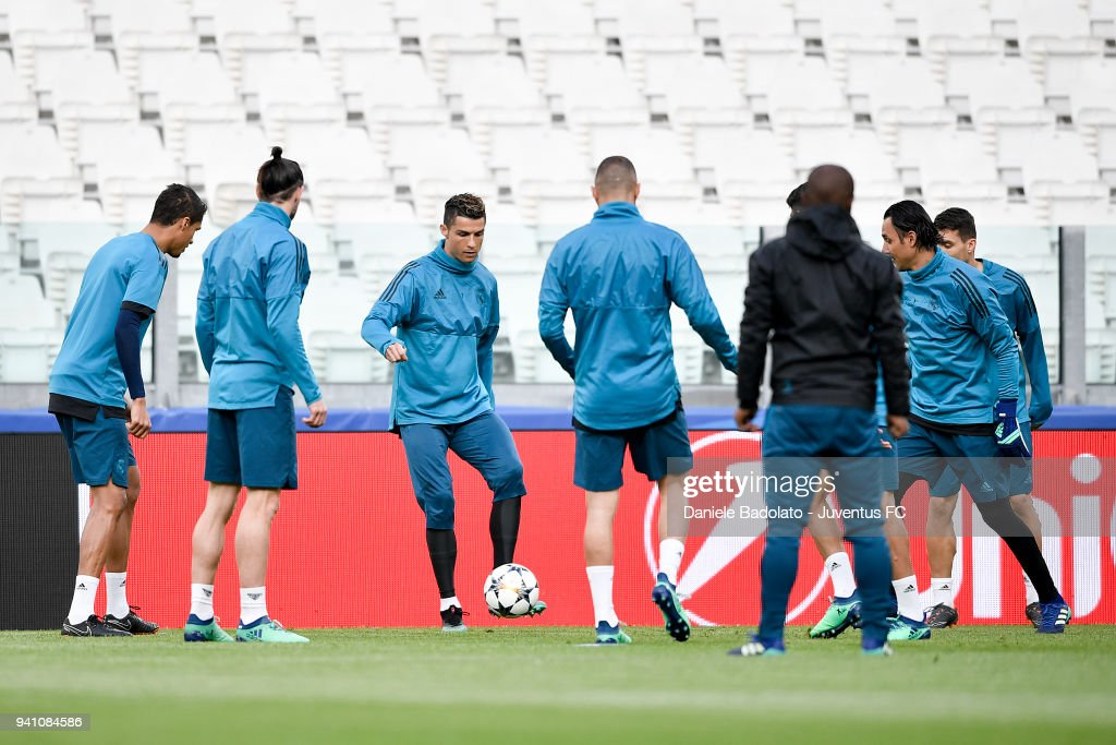 Cristiano Ronaldo of Real Madrid during a training session on the eve of the UEFA Champions League match agains Juventus at Allianz Stadium on April 2, 2018 in Turin, Italy.