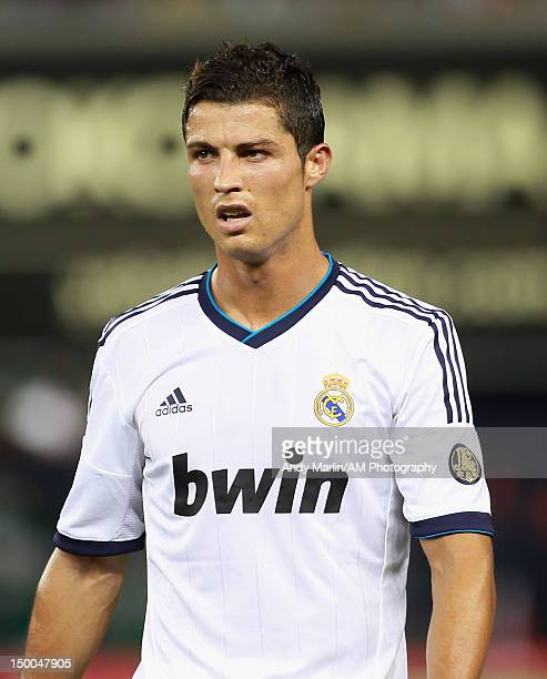 Cristiano Ronaldo of Real Madrid during game action against AC Milan at Yankee Stadium on August 8 2012 in New York City