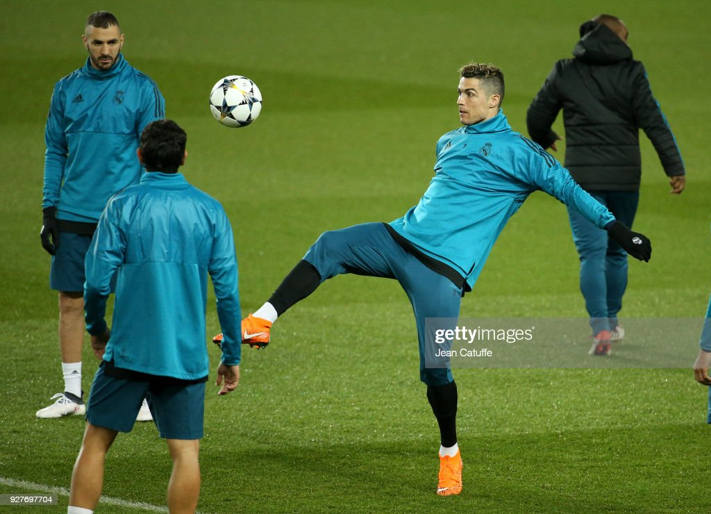 Cristiano Ronaldo of Real Madrid during Real Madrid's training on the eve of UEFA Champions League match between Paris Saint Germain (PSG) and Real Madrid at Parc des Princes stadium on March 5, 2018 in Paris, .