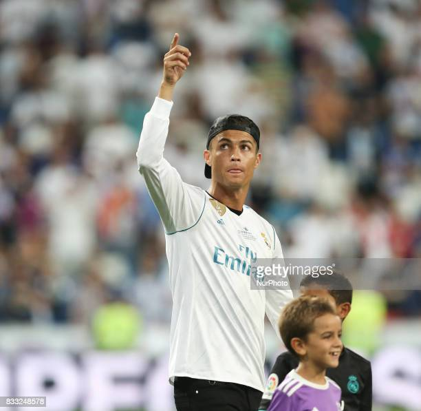 Cristiano Ronaldo of Real Madrid during the celebrations for winning the Spanish Super Cup in the return match against Barcelona at Santiago Bernabeu...