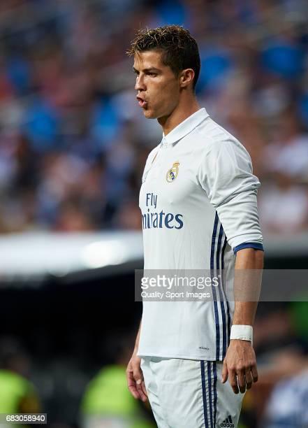 Cristiano Ronaldo of Real Madrid during the La Liga match between Real Madrid CF and Sevilla CF at Estadio Santiago Bernabeu on May 14 2017 in Madrid...
