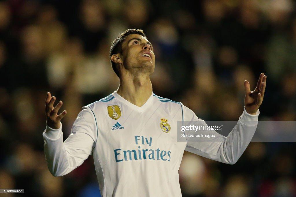 Cristiano Ronaldo of Real Madrid during the La Liga Santander match between Levante v Real Madrid at the Estadi Ciutat de Valencia on February 3, 2018 in Valencia Spain