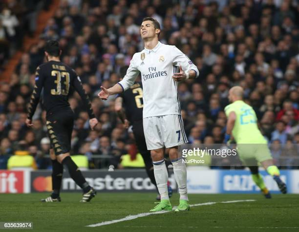 Cristiano Ronaldo of Real Madrid during the UEFA Champions League Round of 16 first leg match between Real Madrid CF and SSC Napoli at Estadio...