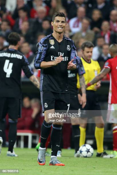 Cristiano Ronaldo of Real Madrid during the UEFA Champions League Quarter Final first leg match between FC Bayern Muenchen and Real Madrid CF at...
