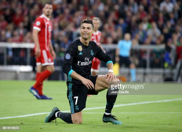 Cristiano Ronaldo of Real Madrid during the UEFA Champions League Semi Final first leg match between Bayern Muenchen and Real Madrid at the Allianz...
