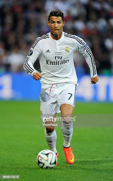 Cristiano Ronaldo of Real Madrid during the UEFA Super Cup Final between Real Madrid and Sevilla at the Cardiff City Stadium in Cardiff UK Photo...