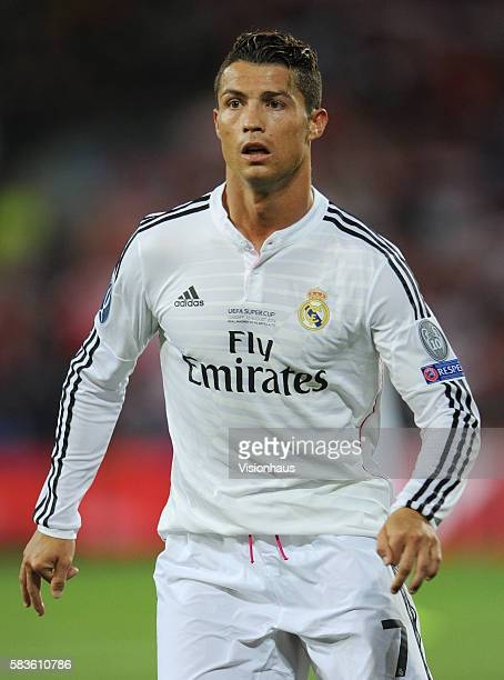 Cristiano Ronaldo of Real Madrid during the UEFA Super Cup Final between Real Madrid CF and Sevilla FC at the Cardiff City Stadium in Cardiff Wales...