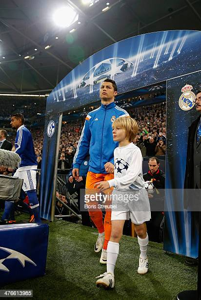 Cristiano Ronaldo of Real Madrid enters the pitch prior to the UEFA Champions League Round of 16 first leg match between Schalke 04 and Real Madrid...