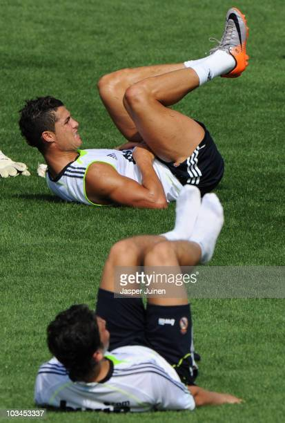 Cristiano Ronaldo of Real Madrid excercises at the end of a training session at the Valdebebas training ground on August 19, 2010 in Madrid, Spain.