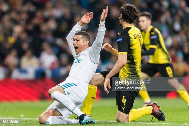 Cristiano Ronaldo of Real Madrid fights for the ball with Borussia Dortmund Defender Neven Subotic during the Europe Champions League 201718 match...