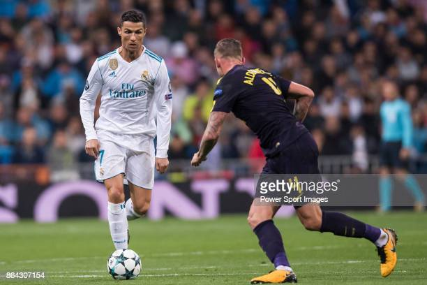Cristiano Ronaldo of Real Madrid fights for the ball with Toby Alderweireld of Tottenham Hotspur FC during the UEFA Champions League 201718 match...