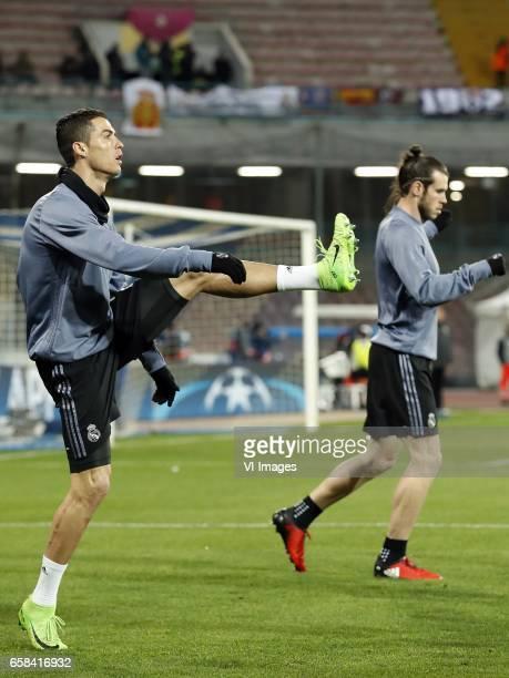 Cristiano Ronaldo of Real Madrid Gareth Bale of Real Madridduring the UEFA Champions League round of 16 match between SSC Napoli and Real Madrid on...