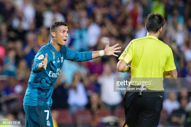 Cristiano Ronaldo of Real Madrid gestures after gets a red card from Fifa Referee Ricardo de Burgos Bergoetxea during the Supercopa de Espana Final...
