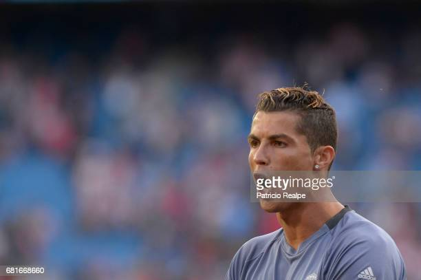 Cristiano Ronaldo of Real Madrid gestures before the match between Club Atletico de Madrid and Real Madrid CF as part of UEFA Champions League Semi...