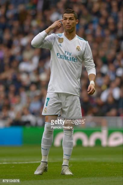 Cristiano Ronaldo of Real Madrid gestures during a match between Real Madrid and Malaga as part of La Liga at Santiago Bernabeu Stadium on November...