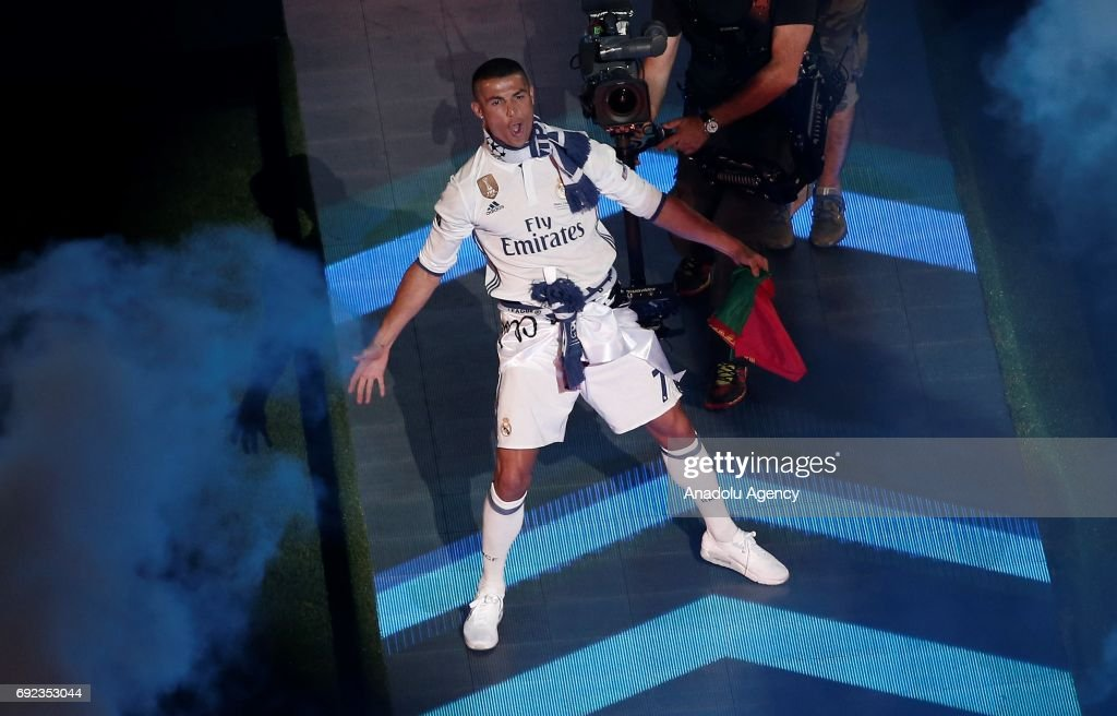 Cristiano Ronaldo of Real Madrid gestures during celebrations at Santiago Bernabeu Stadium after winning the 2016/17 UEFA Champions League in Madrid, Spain on June 4, 2017. La Liga champions achieved their record of 12th European Cup title. More than 80,000 Real Madrid fans attended the celebrations.