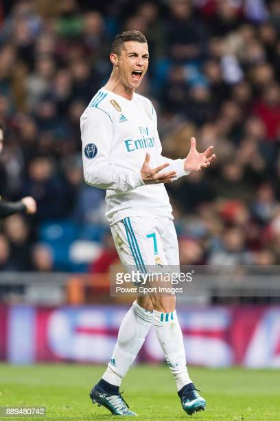 Cristiano Ronaldo of Real Madrid gestures during the Europe Champions League 201718 match between Real Madrid and Borussia Dortmund at Santiago...