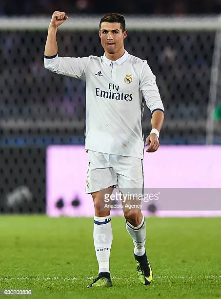 Cristiano Ronaldo of Real Madrid gestures during the FIFA Club World Cup final match between Real Madrid and Kashima Antlers at International Stadium...