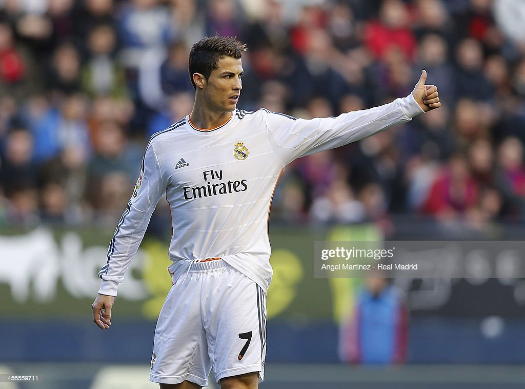 Cristiano Ronaldo of Real Madrid gestures during the La Liga match between CA Osasuna and Real Madrid at Estadio Reyno de Navarra on December 14, 2013 in Pamplona, Spain.