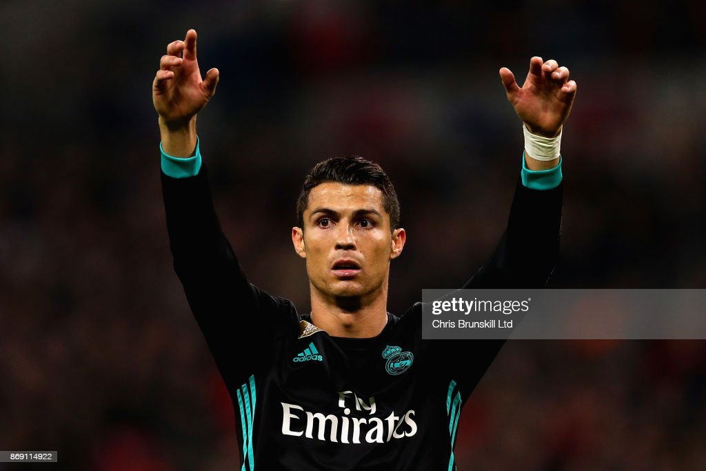 Cristiano Ronaldo of Real Madrid gestures during the UEFA Champions League group H match between Tottenham Hotspur and Real Madrid at Wembley Stadium on November 1, 2017 in London, United Kingdom.