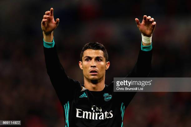Cristiano Ronaldo of Real Madrid gestures during the UEFA Champions League group H match between Tottenham Hotspur and Real Madrid at Wembley Stadium...