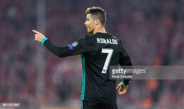 Cristiano Ronaldo of Real Madrid gestures during the UEFA Champions League Semi Final First Leg match between Bayern Muenchen and Real Madrid at the...