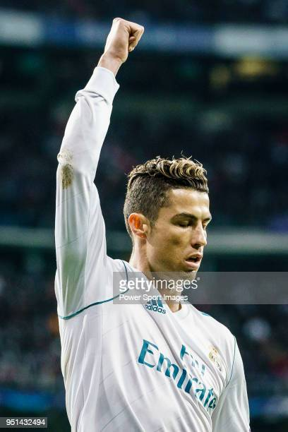 Cristiano Ronaldo of Real Madrid gestures during the UEFA Champions League 201718 quarterfinals match between Real Madrid and Juventus at Estadio...