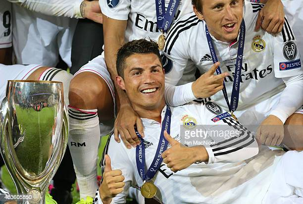 Cristiano Ronaldo of Real Madrid gestures during the UEFA Super Cup match between Real Madrid and Sevilla at Cardiff City Stadium on August 12 2014...