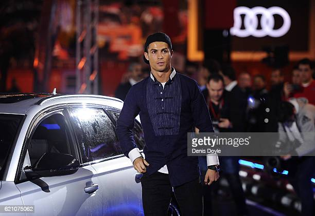 Cristiano Ronaldo of Real Madrid gets into his Audi RS Quattro car for the 2016/2017 season at Carlos Sainz Center on November 4 2016 in Madrid Spain...