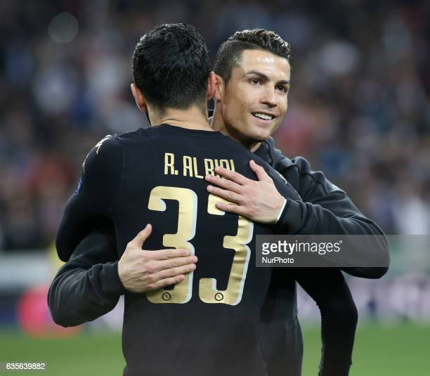 Cristiano Ronaldo of Real Madrid greets Albiol of SSC Napoli during the UEFA Champions League round of 16 first leg football match Real Madrid CF vs...