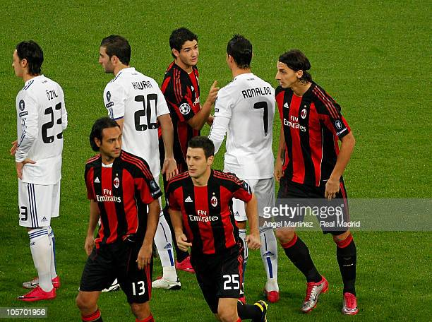 Cristiano Ronaldo of Real Madrid greets Alexandre Pato of Milan before the UEFA Champions League group G match between Real Madrid and AC Milan at...
