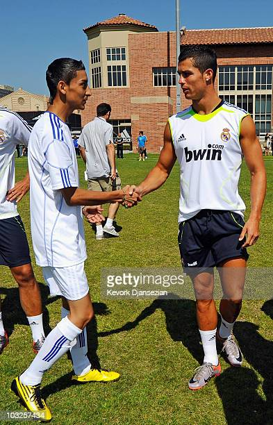 Cristiano Ronaldo of Real Madrid greets local youth soccer players participating in the Adidas training August 5 2010 in Westwood section of Los...