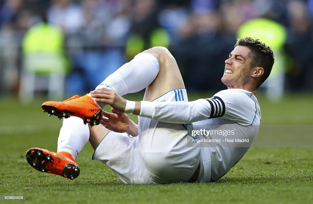 Cristiano Ronaldo of Real Madrid grimaces during the La Liga match between Real Madrid and Deportivo Alaves at Estadio Santiago Bernabeu on February 24, 2018 in Madrid, Spain.