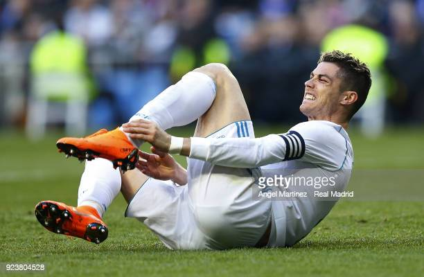 Cristiano Ronaldo of Real Madrid grimaces during the La Liga match between Real Madrid and Deportivo Alaves at Estadio Santiago Bernabeu on February...