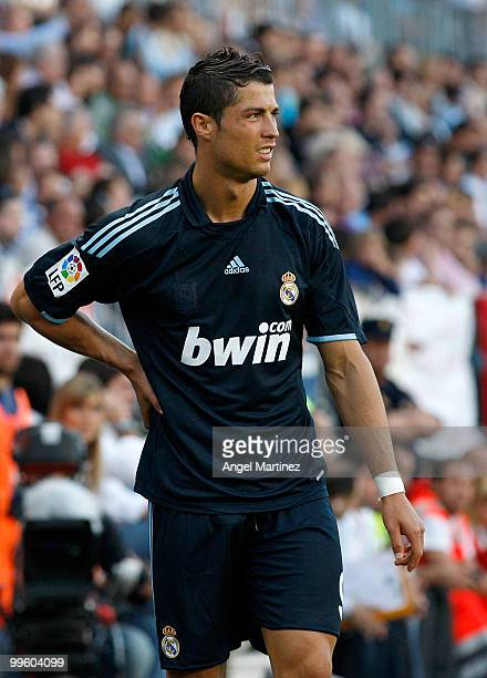 Cristiano Ronaldo of Real Madrid grimaces during the La Liga match between Malaga and Real Madrid at La Rosaleda Stadium on May 16 2010 in Malaga...
