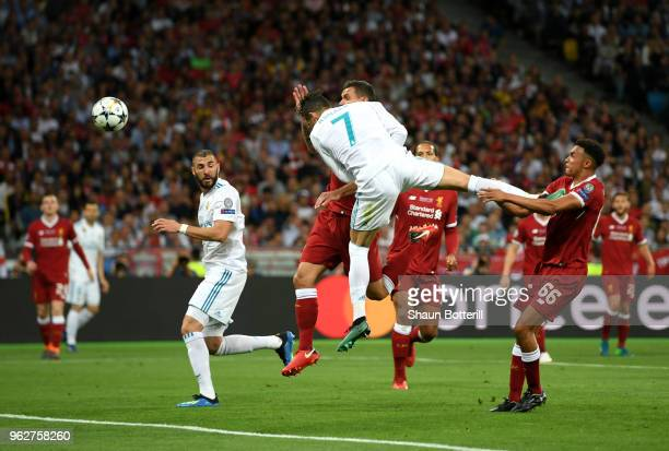 Cristiano Ronaldo of Real Madrid heads on target during the UEFA Champions League Final between Real Madrid and Liverpool at NSC Olimpiyskiy Stadium...