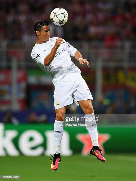 Cristiano Ronaldo of Real Madrid heads the ball during the UEFA Champions League Final match between Real Madrid and Club Atletico de Madrid at...