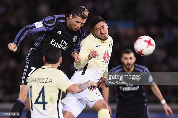 Cristiano Ronaldo of Real Madrid heads the ball towards the goal during the FIFA Club World Cup Japan semi-final match between Club America v Real...