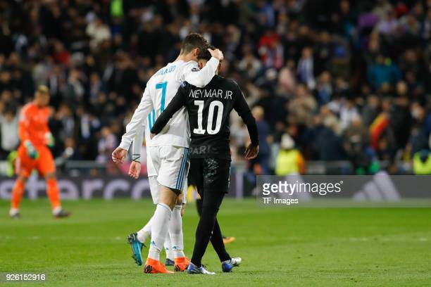Cristiano Ronaldo of Real Madrid hugs Neymar of Paris SaintGermain after the UEFA Champions League Round of 16 First Leg match between Real Madrid...