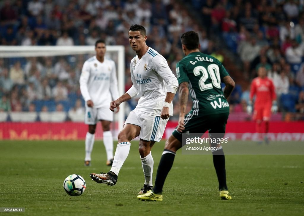 Cristiano Ronaldo L Of Real Madrid In Action Against Cristian Tello R
