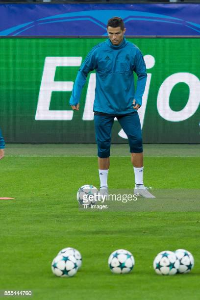Cristiano Ronaldo of Real Madrid in action during a Real Madrid training session ahead of their UEFA Champions League Group H match against Borussia...