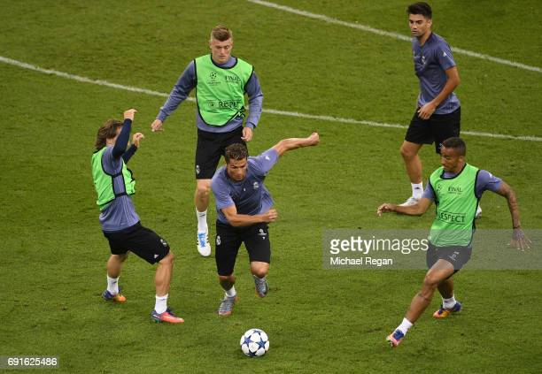 Cristiano Ronaldo of Real Madrid in action during a Real Madrid training session prior to the UEFA Champions League Final between Juventus and Real...