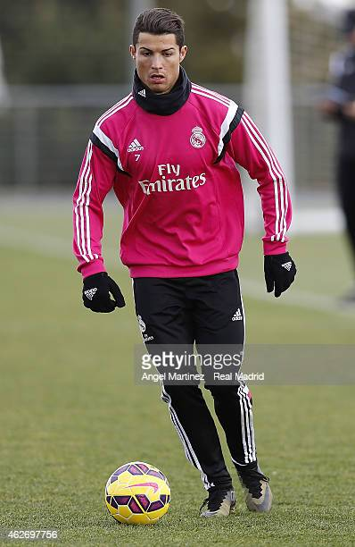 Cristiano Ronaldo of Real Madrid in action during a training session at Valdebebas training ground on February 3 2015 in Madrid Spain
